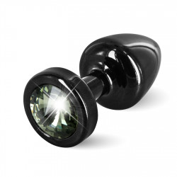 Diogol Anni Round 25mm - Anální šperk Černý s černým krystalem
