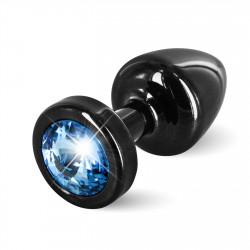 Diogol Anni Round 25mm - Anální šperk Černý s modrým krystalem