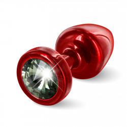Diogol Anni Round 25mm - Anální šperk Červený s černým krystalem