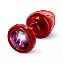 Diogol Anni Round 25mm - Anální šperk Červený s růžovým krystalem