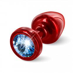 Diogol Anni Round 25mm - Anální šperk Červený s modrým krystalem