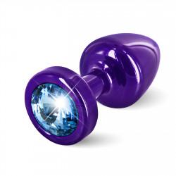 Diogol Anni Round 25mm - Anální šperk Fialový s modrým krystalem