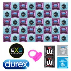 Durex Air Thin Balíček ultra tenkých kondomů - 42 kondomů Durex a EXS + lubrikační gely Pasante a revoluční kondomy Wingman jako dárek
