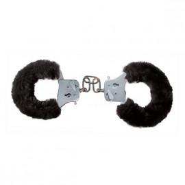 Toyjoy Furry Fun Cuffs - Plyšová kovová pouta černá