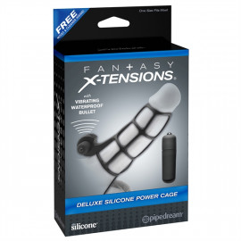 Pipedream Fantasy X-tensions Deluxe Silicone Power Cage - Vibrační silikonový návlek na penis