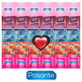 Pasante Mix pro každou příležitost - 30 kondomů Pasante + srdíčkový kondom jako dárek