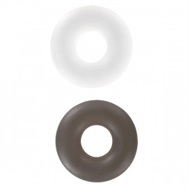 ToyJoy Stud Rings Clear/Smoke - Sada erekčních kroužků 2ks