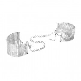 Bijoux Indiscrets Desir Metallique Mesh Handcuffs Silver - Kovová ozdobná pouta Stříbrná