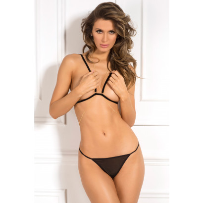 René Rofé 3pc Chain Reaction Bra Set Černá