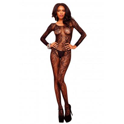 Leg Avenue Swirl Lace Bodystocking 89108 Černá