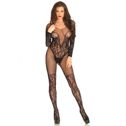 Leg Avenue Vine Lace And Net Bodystocking 89190 Černá