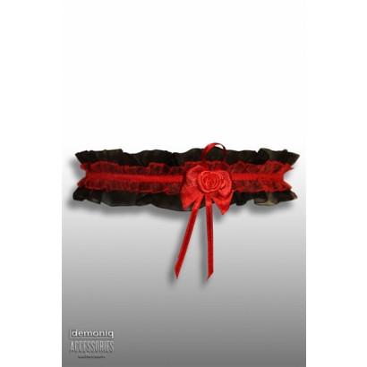 Demoniq Krajkový podvazek s růžičkou Černý