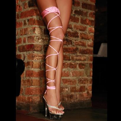 Electric Lingerie Twisted Leg Garter - Šněrovací podvazek růžový