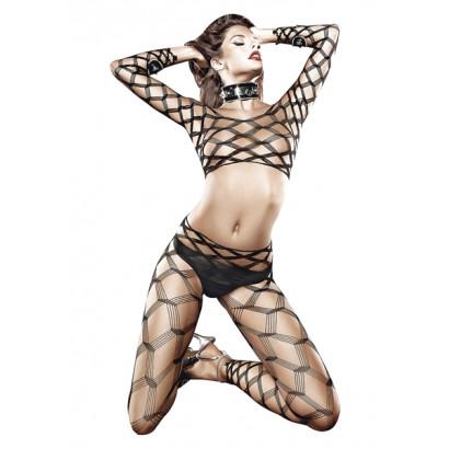Baci Two Piece Diamond Net Bodystocking