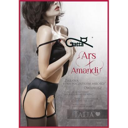 Gatta Ars Amandi Talia - Punčochové kalhoty s podvazky Nero